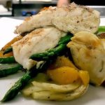 Grilled Walleye, Fennel, Orange, Asparagus and Roasted Potato
