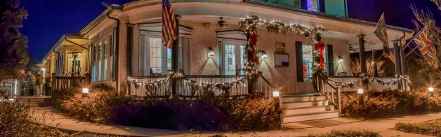 Front Porch of Tavern at Christmas